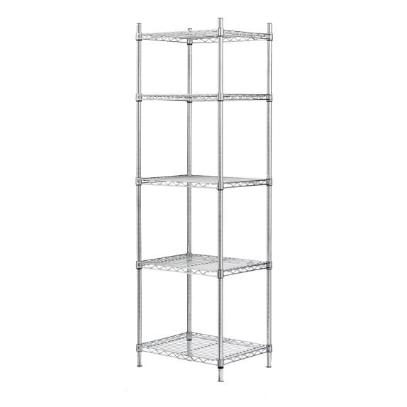 Wire 5-Shelf Tower Unit, Chrome