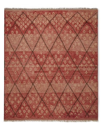 Hand-Knotted Moroccan Diamond Rug, 9' X 12', Coral