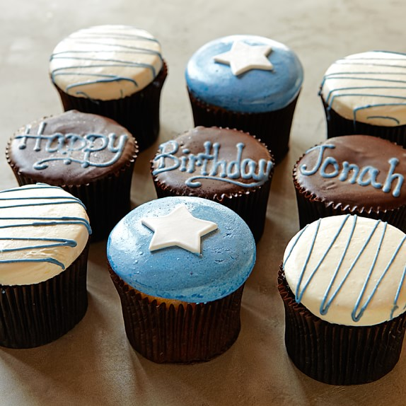 Personalized Birthday Cupcakes for Him, Set of 9