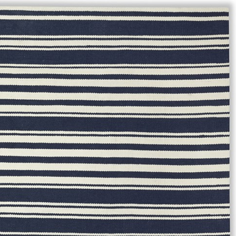 Riviera Stripe Indoor/Outdoor Rug Swatch, Dress Blue/Egret