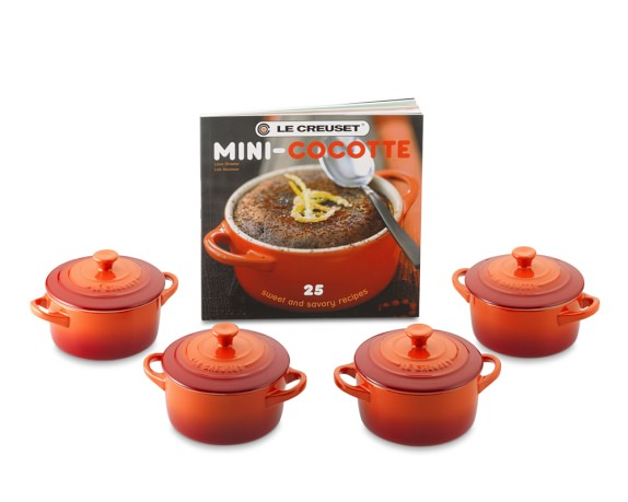 Le Creuset Stoneware 4-Piece Mini Cocotte Set with Cookbook, Flame