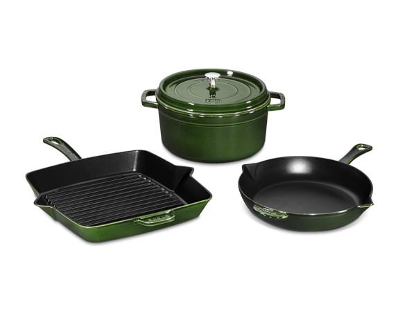 Staub Cast-Iron 4-Piece Cookware Set, Basil