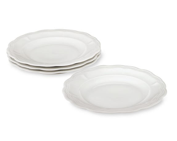 Pillivuyt Queen Anne Porcelain Dinner Plates, Set of 4