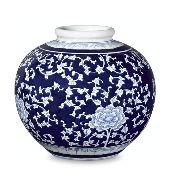 Blue & White Ginger Jar Round Vessel