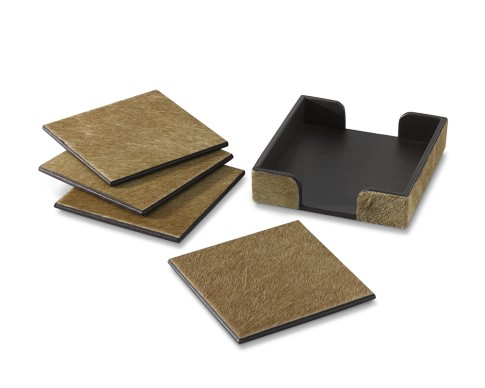 Hair on Hide Leather Coasters, Set of 4