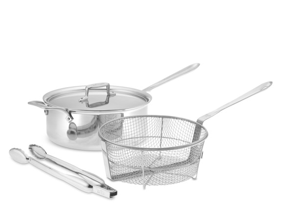 All-Clad d5 Stainless Steel 6-Qt. Deep Sauté Pan with Fry Basket & Tongs