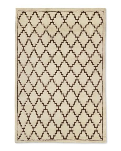 Graphic Diamond Rug, 6' X 9', Ivory/Brown