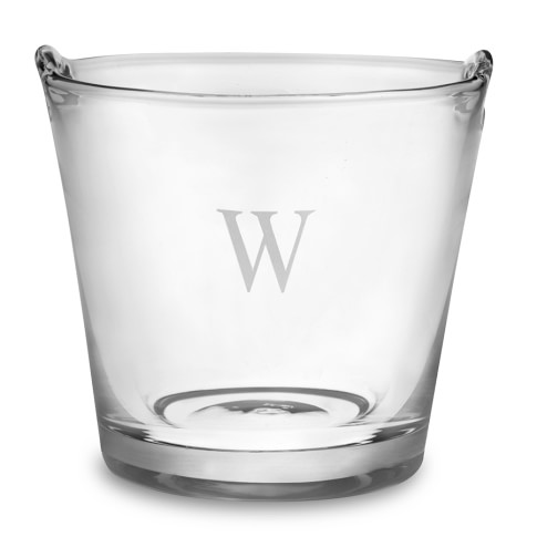 Monogrammed Glass Ice Bucket, Single-Initial