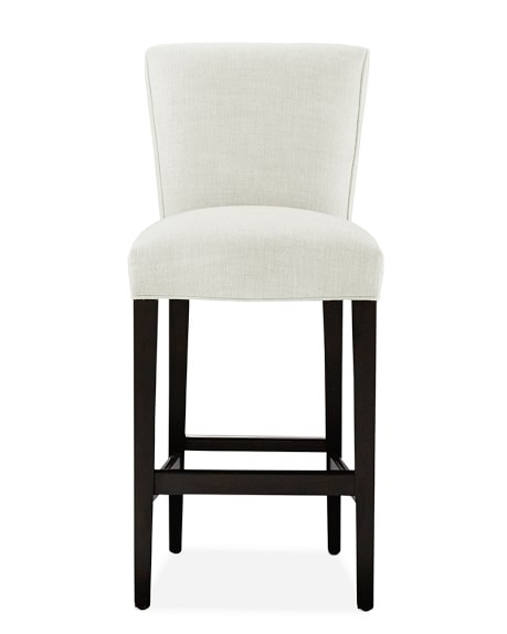 Fitzgerald Dining Stool, Bar, Ebony, Chunky Linen, White