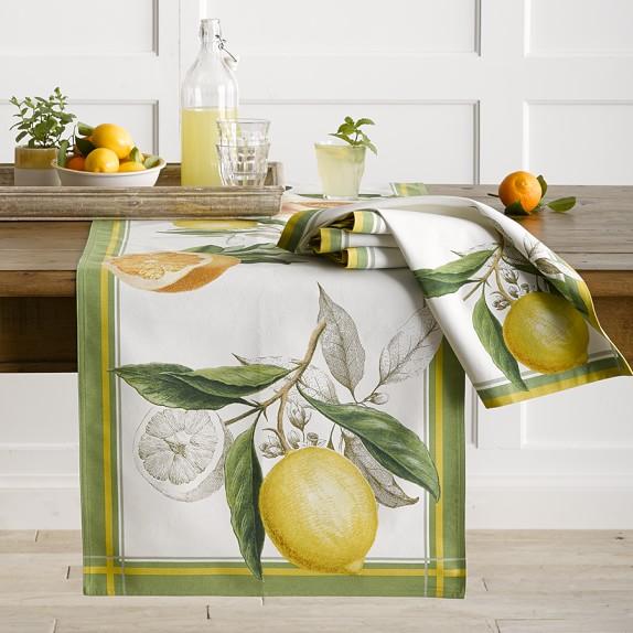 Botanical Citrus Table Table Runner