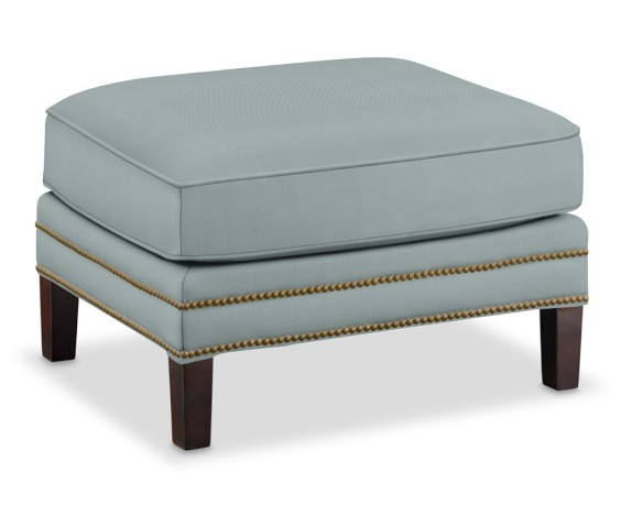 Carter Ottoman, Brushed Canvas, Solid, Mist, Antique Brass