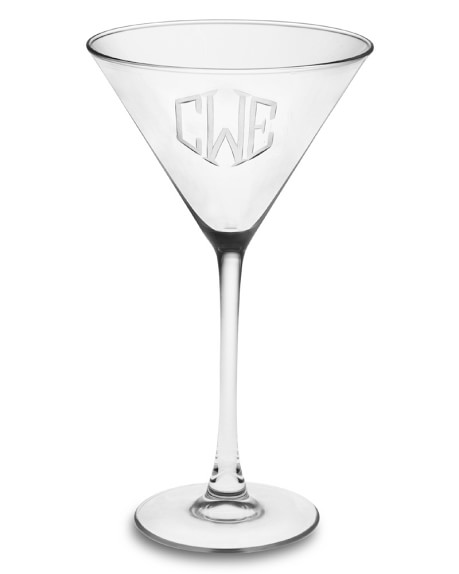 Monogrammed Martini Glasses, Triple-Initial, Set of 4