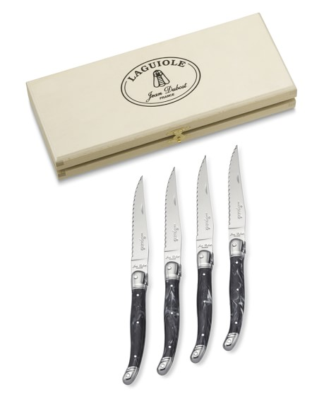 Laguiole Jean Dubost Steak Knives, Set of 4, Marble Black