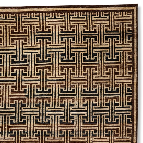 Bold Lattice Hand Knotted Rug Swatch