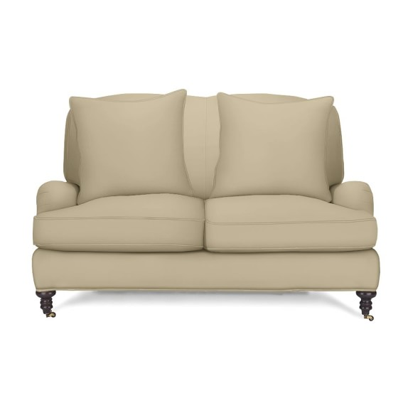Bedford Loveseat with Standard Cushion, Faux Suede, Solid, Champagne