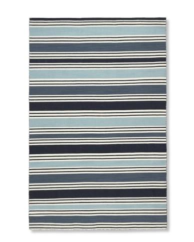 Awning Stripe Rug, Blues, 8' X 10'