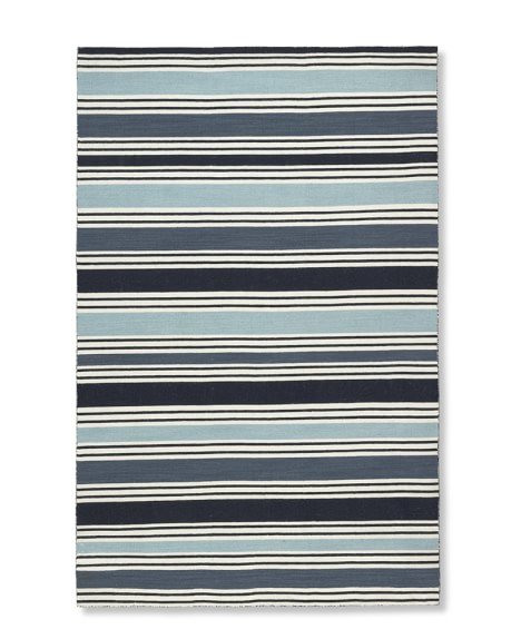 Awning Stripe Rug, Blues, 5' X 8'