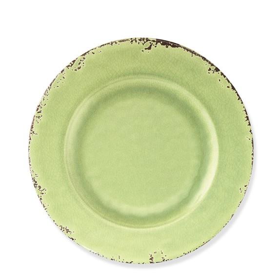 Rustic Melamine Salad Plate, Set of 4, Leaf Green