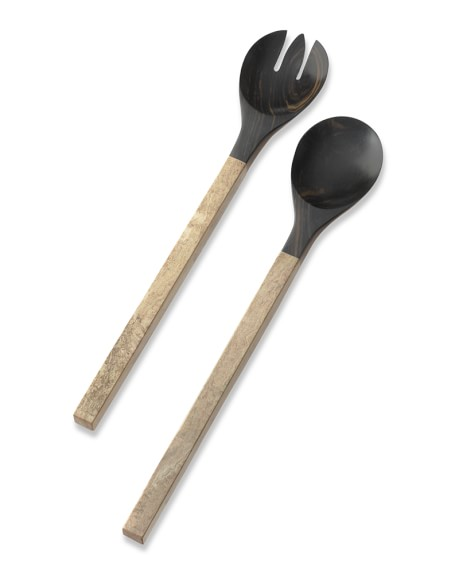 Black Wood & Stone Salad Servers