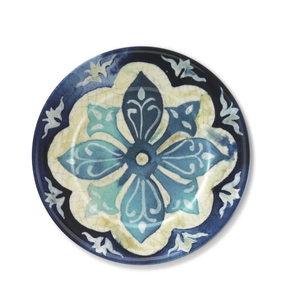 Blue Byzantine Melamine Appetizer Plates, Set of 4
