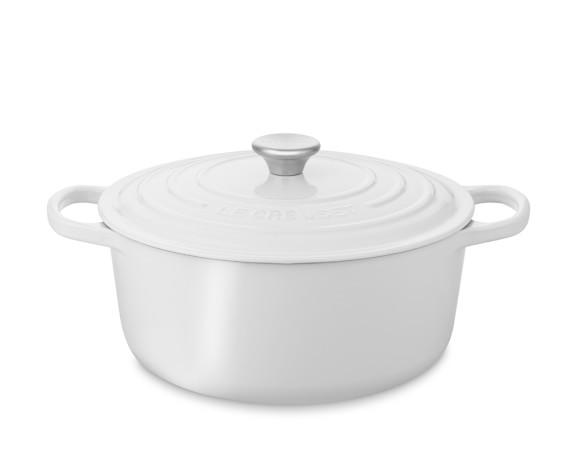 Le Creuset Signature Cast-Iron Round Dutch Oven, White, 5 1/2-Qt.