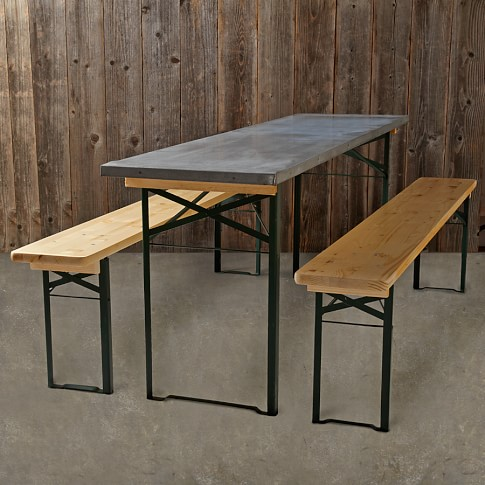 Vintage Galvanized Biergarten Table