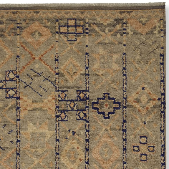 Hand-Knotted Souk Moroccan Rug Swatch, Blue/Orange
