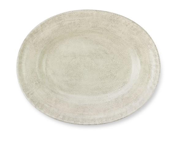 Rustic Italian Ceramic Platter, Ivory