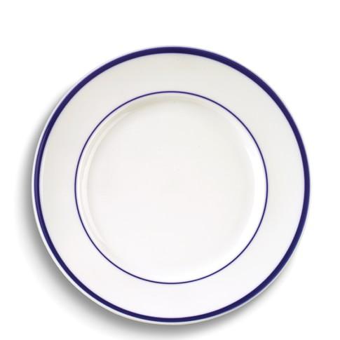 Brasserie Blue-Banded Porcelain Dinner Plates, Set of 4