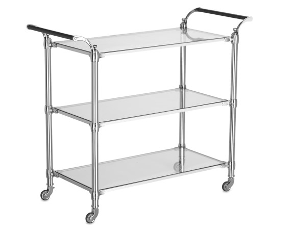 Beckett Bar Cart, Polished Nickel