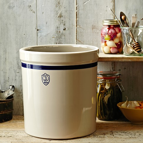 Stoneware Pickling Crock, Blue Stripe, 3 Gallon