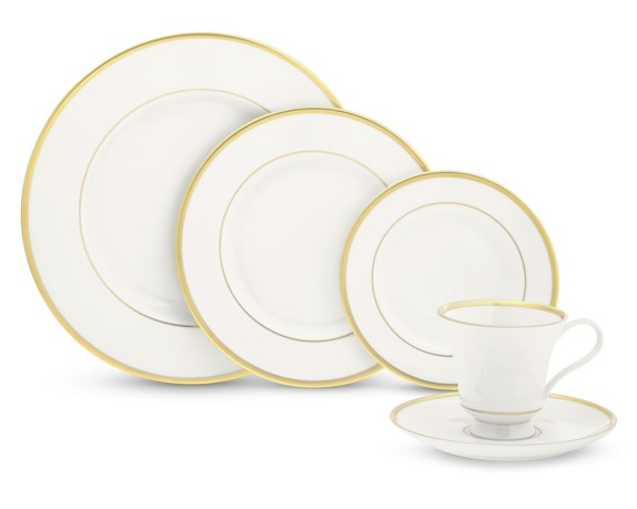 Pickard Signature Plain Margaret 5-Piece Place Set, Gold