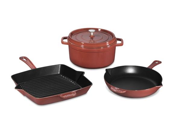 Staub Cast-Iron 4-Piece Cookware Set, Red