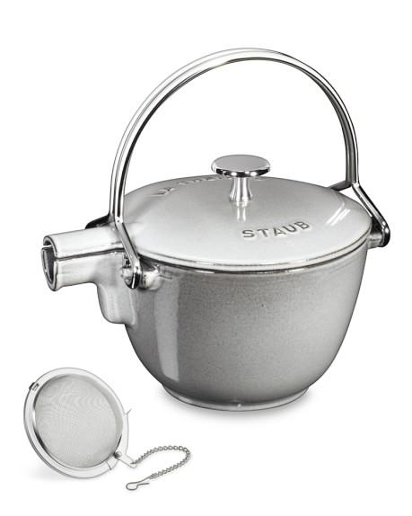 Staub Cast-Iron Round Tea Kettle, 1-Qt., Graphite
