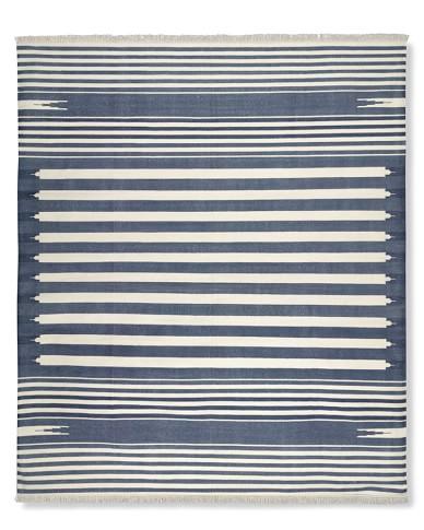 Stonewashed Variegated Stripe Flatweave Rug, 6' X 9', Navy