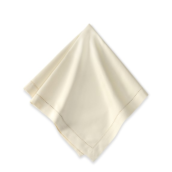 Hotel Hemstitched Linen Dinner Napkins, Set of 12, Ivory