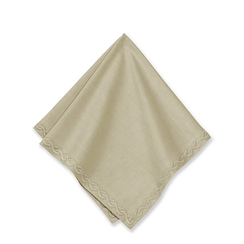 Chain Link Embroidered Napkins, Set of 4, Flax