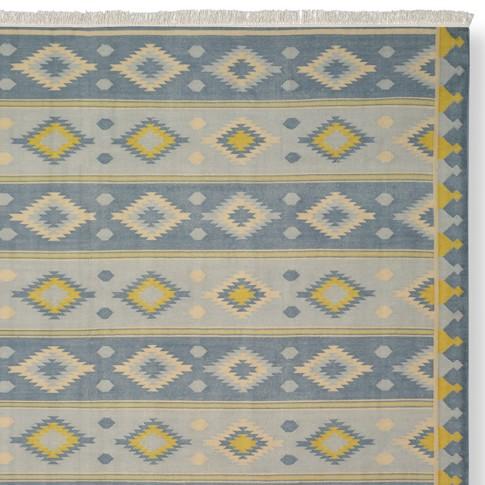 Stonewashed Diamond Flatweave Rug Swatch, Blue/Yellow
