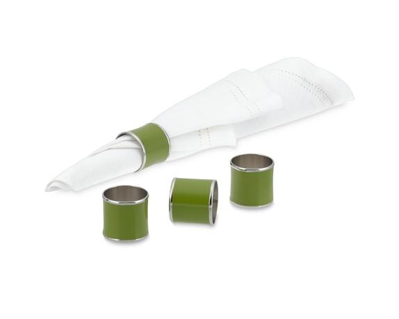 Enamel Napkin Rings, Set of 4, Leaf Green