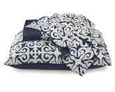 Tropez Sateen Bedding with White Embroidery, Duvet Cover, Full/Queen, Navy