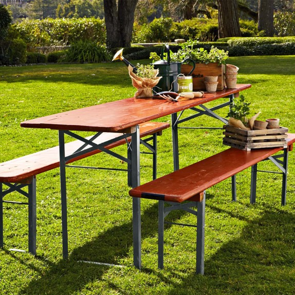 Vintage Biergarten Table, Red