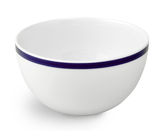 Brasserie Blue-Banded Porcelain Cereal Bowls, Set of 4