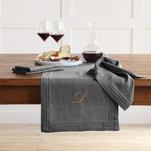Pleated Edge Table Runner, Charcoal