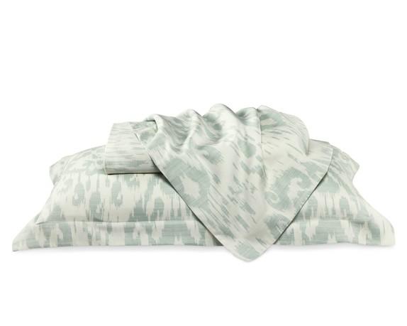 Printed Ikat Sateen Bedding Duvet Cover, Full/Queen, Seafoam