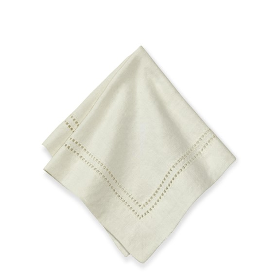Linen Double Hemstitch Cocktail Napkins, Set of 4, Cream