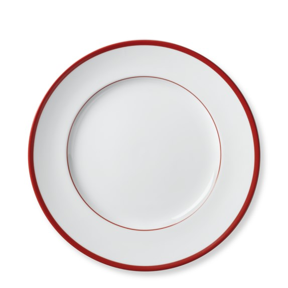 Brasserie Red-Banded Porcelain Salad Plates, Set of 4