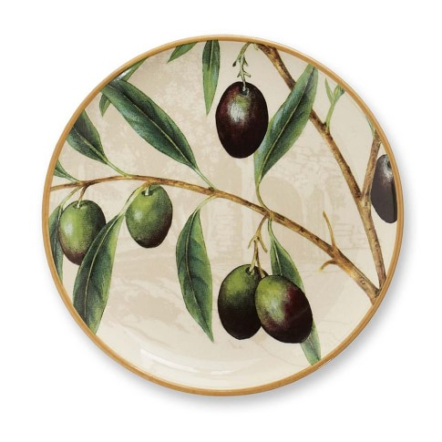 Wine Country Botanical Salad Plates, Set of 2, Olive
