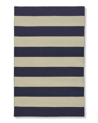 Wide Stripe Dhurrie Rug, 9' X 12', Medieval Blue/White Ice