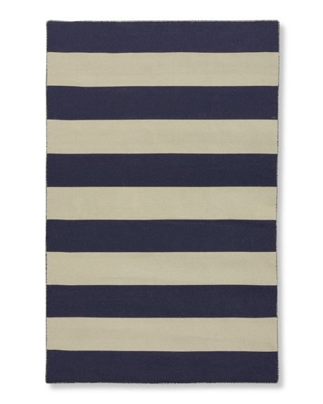 Wide Stripe Dhurrie Rug, 8' X 10', Medieval Blue/White Ice