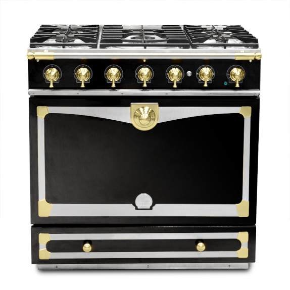 La Cornue Albertine Gloss Black Stove with Satin Chrome Polished Brass